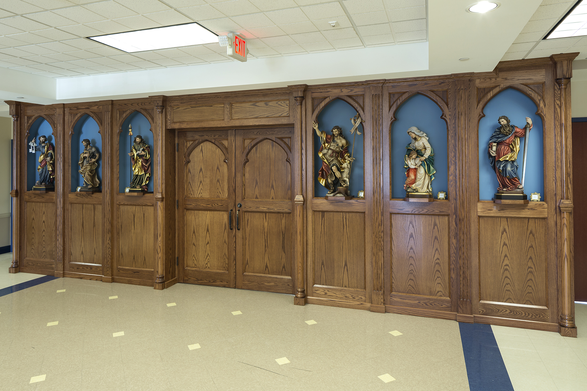 custom woodwork for ava maria school statues